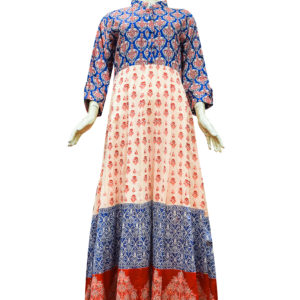 Cream and Blue Chanderi Cotton Anarkali Set 2