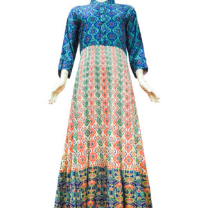 Navy Blue and Beige Chanderi Cotton Anarkali Set1