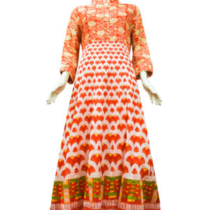 Cream and Orange Chanderi Cotton Anarkali Set