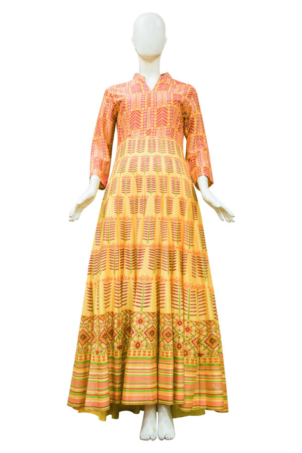 Mustard Yellow Chanderi Cotton Anarkali Set1