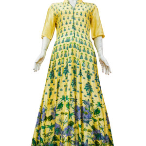 Yellow Chanderi Silk Anarkali Set 1