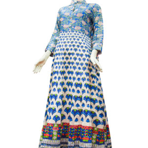 Off White and Ferozi Chanderi Cotton Anarkali Set