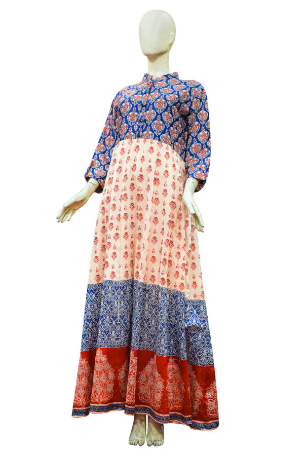Cream and Blue Chanderi Cotton Anarkali Set