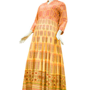 Mustard Yellow Chanderi Cotton Anarkali Set