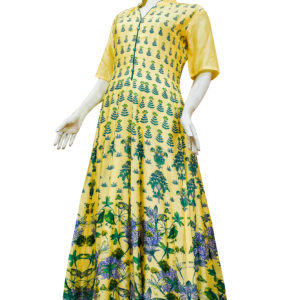 Yellow Chanderi Silk Anarkali Set