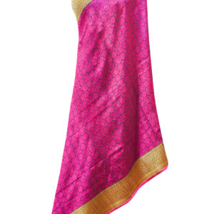 Black Self Handloom Silk Dupatta
