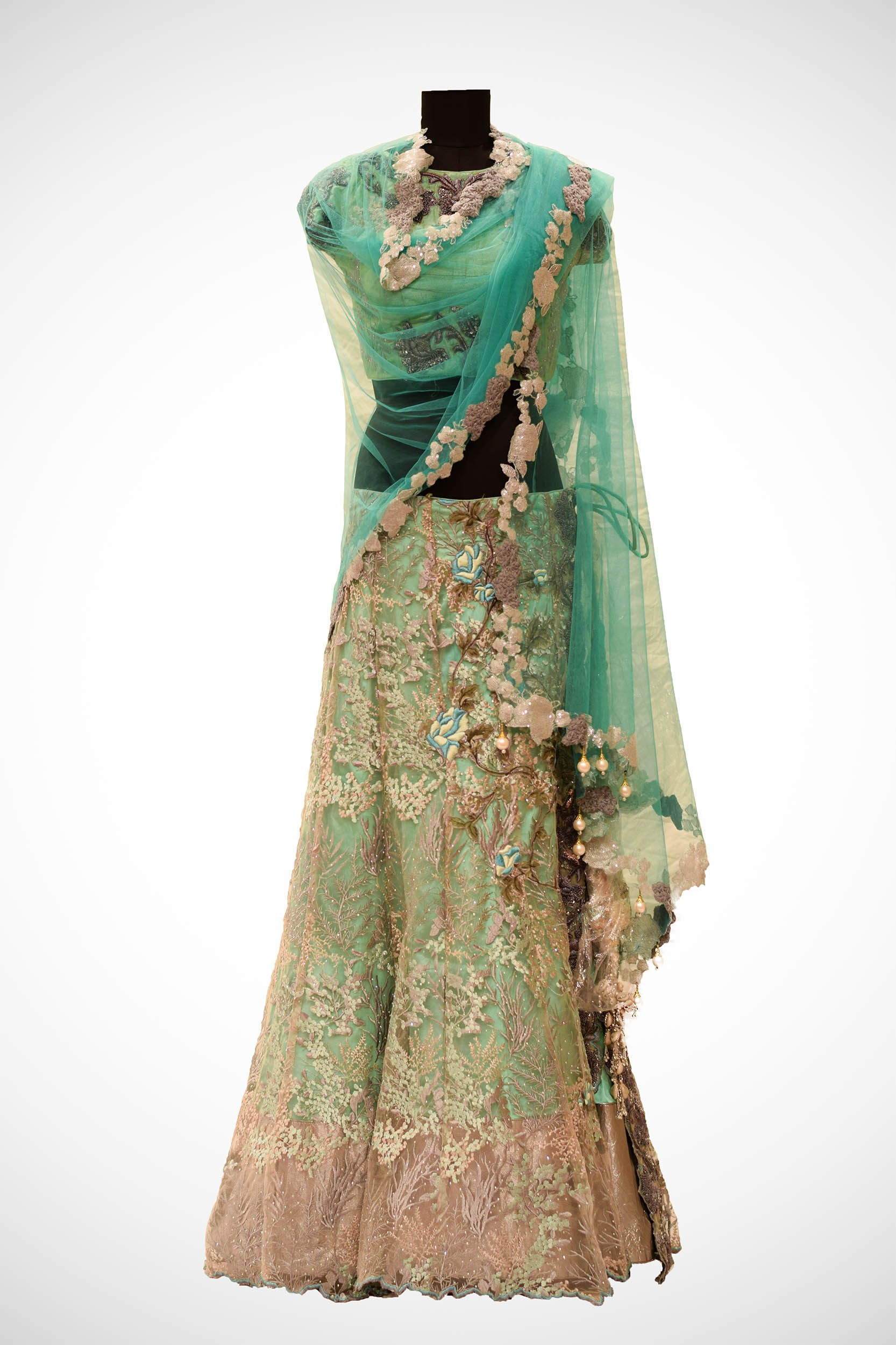 76fb704a575 Ocean Green Raw Silk Couture Dabka Embroidered Lehanga Set